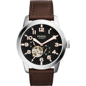 FOSSIL Townsman 爵士小鏤空機械錶-黑x咖啡/44mm ME3118