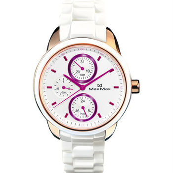 【MaxMax】耀眼蜜糖時尚精密陶瓷腕錶-紫x白(MAS7003S-6)