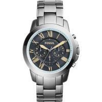FOSSIL 都會雅爵三眼計時腕錶-灰藍x鐵灰/46mm FS5185