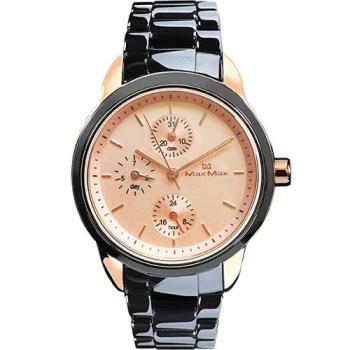 【Max Max】時尚經典黑金配色陶瓷中性錶(MAS7003S-12)