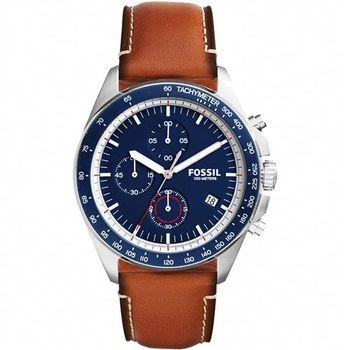 FOSSIL Modern Vintage三眼計時腕錶-藍x咖啡44mm CH3039