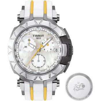 TISSOT 天梭 T-RACE 環法自行車賽特別版計時腕錶-珍珠貝/45mm T0924171711100