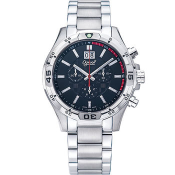 Ogival 瑞士愛其華- 精銳戰將三眼計時石英腕錶--黑832-07GS