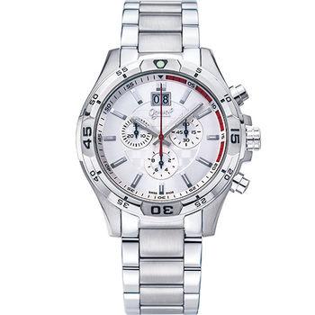 Ogival 瑞士愛其華- 精銳戰將三眼計時石英腕錶--白832-07GS