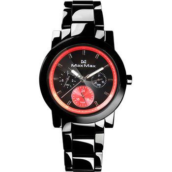 【MAX MAX】時尚科技感精密陶瓷中性錶-黑X紅(MAS50803J-B4)