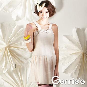 【Gennie's奇妮】可愛蝴蝶結孕婦背心洋裝(G11128)