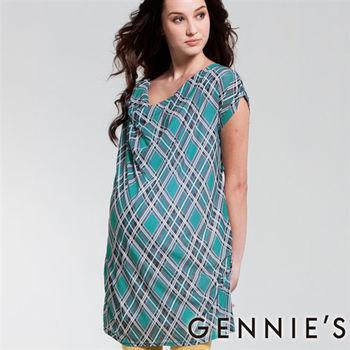 【Gennies奇妮】湖水綠格紋假兩件式春夏孕婦洋裝(C1119)
