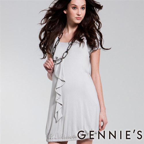 【Gennies奇妮】知性氣質鬆緊裙襬春夏孕婦洋裝-灰(C1139)