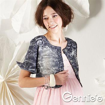 【Gennie's奇妮】牛仔風暈染雪花棉質孕婦短版小外套-藍(G3143)