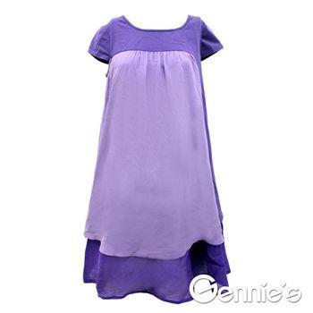 【Gennie's奇妮】簡雅時尚雪紡拼接春夏孕婦上衣-紫 (G3164)