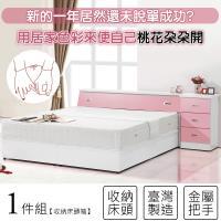 【KIKY】粉紅波莉浪漫主義雙人床頭箱