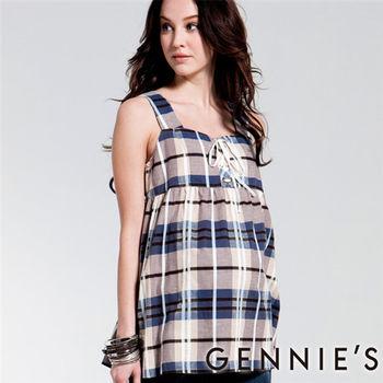 【Gennies奇妮】柔美淡雅格紋春夏孕婦背心上衣-藍(C3126)