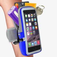 【活力揚邑】防水透氣排汗反光跑步自行車手機觸控雙層運動臂包臂套臂袋-5.7吋以下通用 藍色