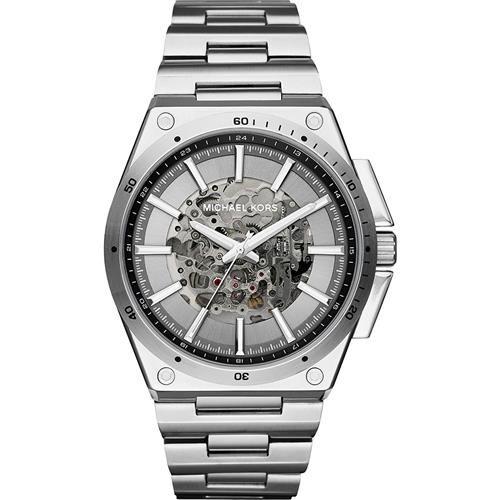 Michael Kors 時尚型男雙鏤空機械腕錶-銀/45mm MK9021
