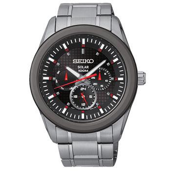 SEIKO Criteria時尚新美學太陽能三眼計時腕錶-黑/43mm-V14J-0CD0R