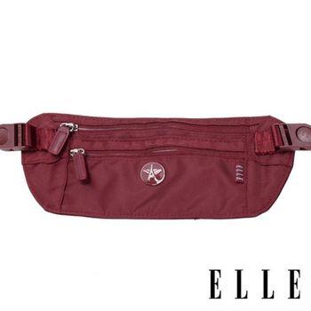 【ELLE】法式優雅時尚 旅行隨身收納包/票券包/手機包(酒紅 EL83477-80)