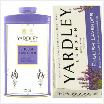 英國原裝進口YARDLEY雅禮體香粉(薰衣草香)(250g)*1+薰衣草精油保濕香皂(12入*120g)