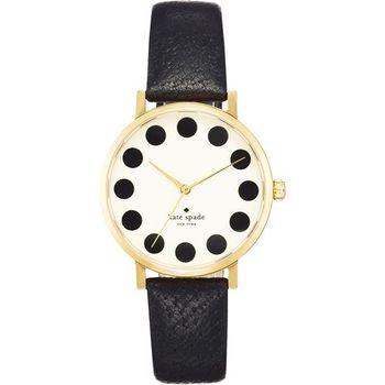 Kate Spade Merto 時尚點點腕錶-米白x黑/34mm 1YRU0107