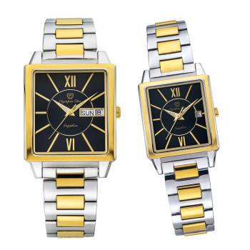 Olympia Star 奧林比亞之星-經典時尚羅馬方型對錶-雙色*黑  58065MSK+58065LSK
