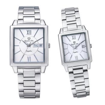 Olympia Star 奧林比亞之星-經典時尚羅馬方型對錶-銀  58065MS+58065LS