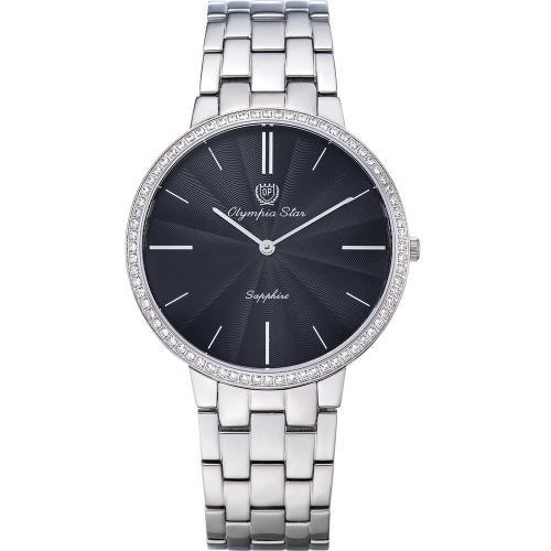 Olympia Star 奧林比亞之星-時尚水波紋晶鑽腕錶-黑/40mm 58060DMS