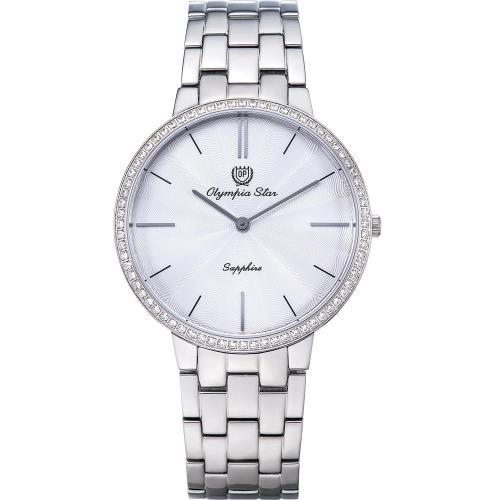 Olympia Star 奧林比亞之星-時尚水波紋晶鑽腕錶-白/40mm 58060DMS