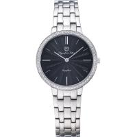 Olympia Star 奧林比亞之星-時尚水波紋晶鑽腕錶-黑/34mm 58060DLS
