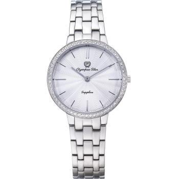 Olympia Star 奧林比亞之星-時尚水波紋晶鑽腕錶-白/34mm 58060DLS