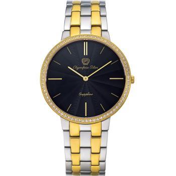 Olympia Star 奧林比亞之星-時尚水波紋晶鑽腕錶-雙色/40mm 58060DMSK