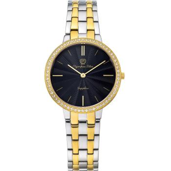 Olympia Star 奧林比亞之星-時尚水波紋晶鑽腕錶-雙色/34mm 58060DLSK