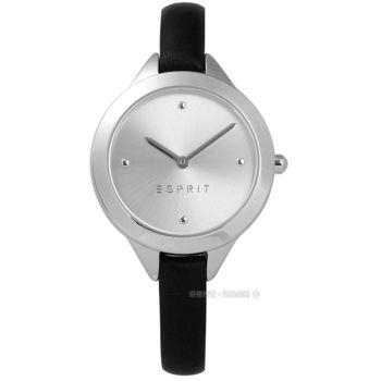 ESPRIT / ES109392004 / 簡約典雅圓珠細緻真皮手錶 銀x黑 32mm