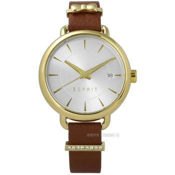 ESPRIT / ES109402002 / 晶鑽蝴蝶結巧思質感真皮手錶 銀x金框x咖啡 34mm
