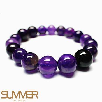 【SUMMER寶石】天然紫水晶圓珠手珠 (隨機出貨)