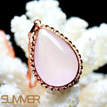 SUMMER寶石  天然粉晶愛之水晶墜飾項鍊 (隨機出貨)