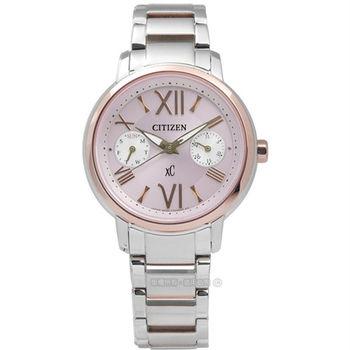 CITIZEN / FD1094-53W / XC 清新時分羅馬光動能不鏽鋼腕錶 粉x玫瑰金框 32mm