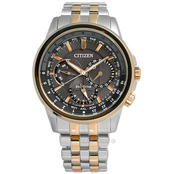 CITIZEN 星辰表 / BU2026-65H / 紳士穩重光動能不鏽鋼腕錶 鐵灰x香檳金框 43mm