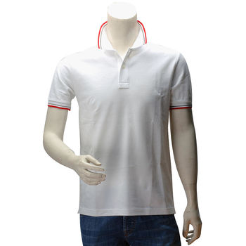PRADA PIQUET紅灰織邊雙釦立領短袖POLO衫(白色-L號-展示品)