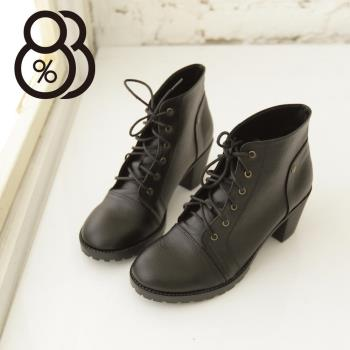 【88%】MIT台灣製 韓版摩登皮革素面鈕扣綁帶式6CM粗跟超舒適短靴 3色