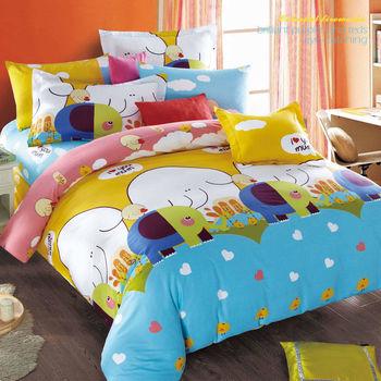 【FOCA-童心象園】加大-100%精梳棉四件式鋪棉兩用被床包組