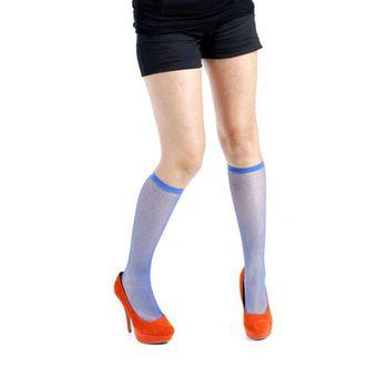 【摩達客】英國進口義大利製【Pamela Mann】藍色細格紋及膝高筒襪