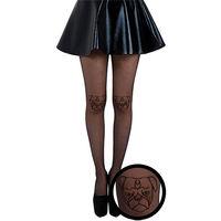 【摩達客】英國進口義大利製Pamela Mann 巴哥臉圖紋半透明絲襪彈性褲襪