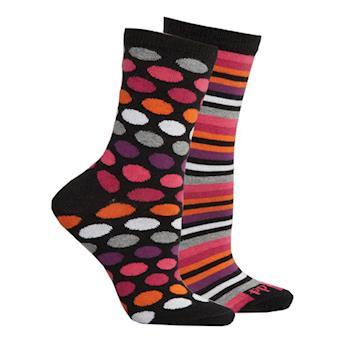 【摩達客】英國進口Pretty Polly 時尚普普風圓點條紋棉襪腳踝襪短襪超值組(一組兩雙不同款)