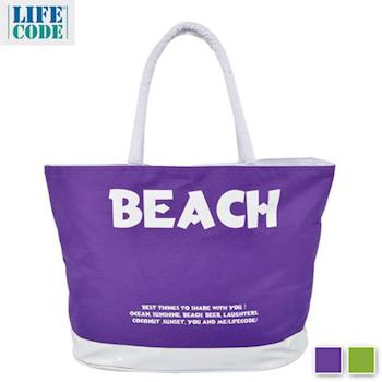 【LIFECODE】BEACH 防水大沙灘袋/購物袋/健身袋-2色可選