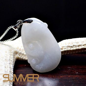 【SUMMER寶石】天然緬甸A貨翡翠如意項鍊(QE-15-隨機出貨)