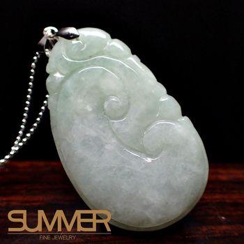 【SUMMER寶石】天然緬甸A貨翡翠如意項鍊(QE-11-隨機出貨)