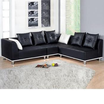 Bernice-簡約雙色半牛皮L型沙發