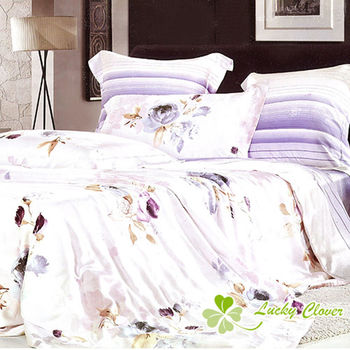 【幸運草】花枝幽美 100%柔嫩天絲60支雙人四件式床包被套組