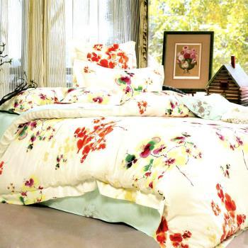 【幸運草】鵝黃彩衣 100%柔嫩天絲60支雙人四件式床包被套組