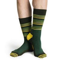 【摩達客】瑞典進口【Happy Socks】綠黃半橫紋中統襪