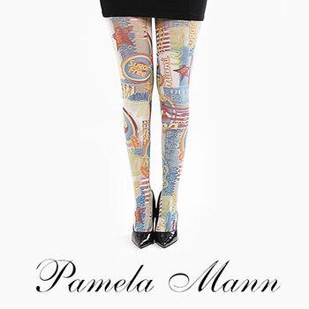 【摩達客】英國進口義大利製【Pamela Mann】Sugar Free歡樂藝術圖紋彈性褲襪